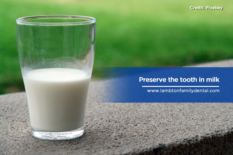 Preserve the tooth in milk