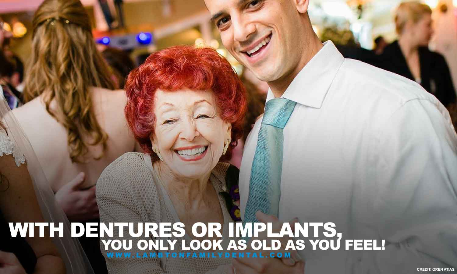 With dentures or implants