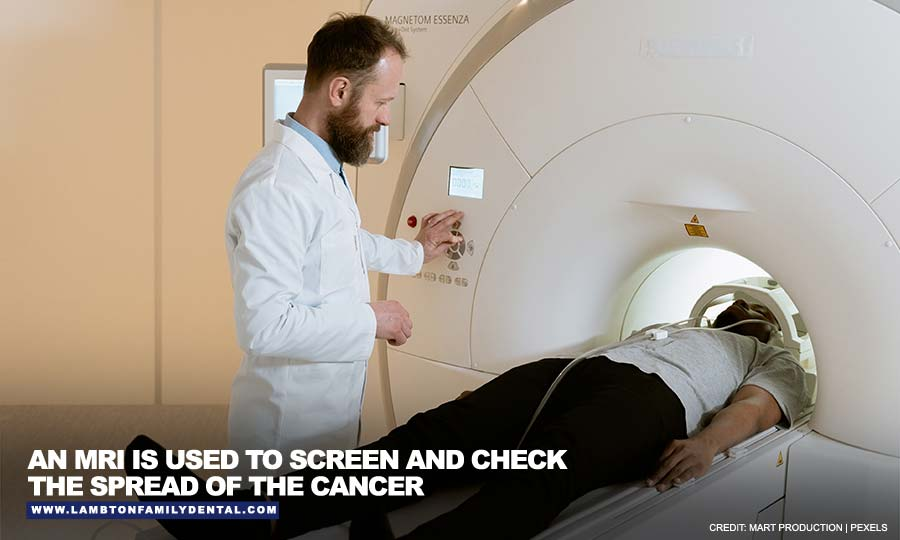 An MRI is used to screen and check the spread of the cancer