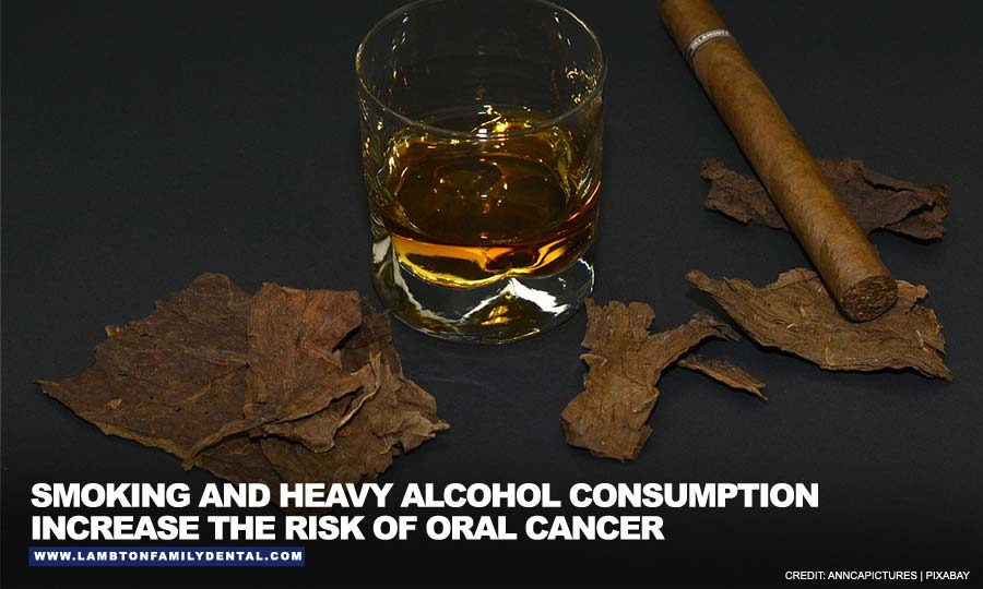 Smoking and heavy alcohol consumption increase the risk of oral cancer